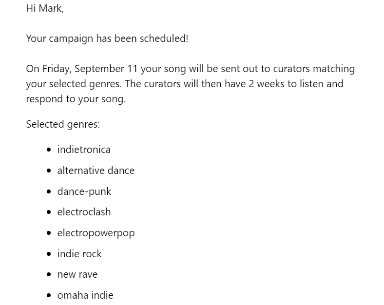 playlist push genre selected email