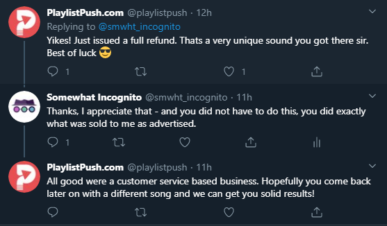 tweet with playlistpush about refund for services